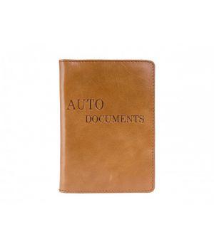 """Обложка для автодокументов """"AUTO DOCUMENTS"""" Alkor Light Brown"""