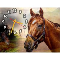 Настенные часы природа Кони, 30х40 см