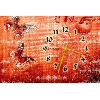 Настенные часы Бабочки на красном, 30х45 см