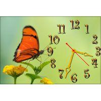 Годинник настінний Метелик на квітці, 30х45 см