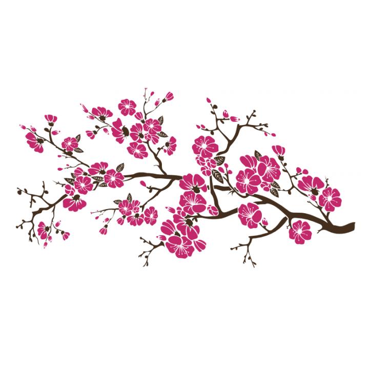 Интерьерная виниловая наклейка на стену Сакура в цвету