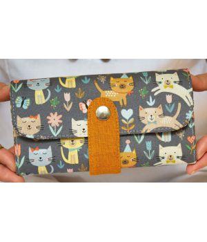 Большой дизайнерский кошелек женский с рисунком Кошачий вальс