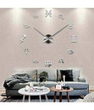 Часы настенные круглые большие 3D T4210 Гороскоп, Знаки Зодиака Серебряные