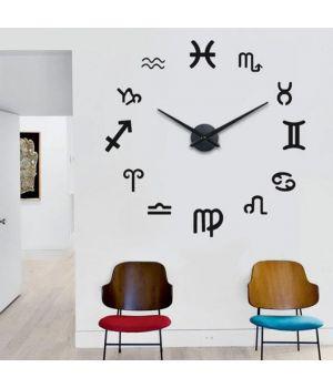 Часы настенные круглые большие 3D T4210 Гороскоп, Знаки Зодиака Черные
