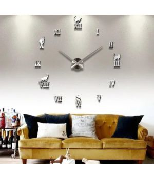 Часы настенные круглые большие 3D T4220 Серебро