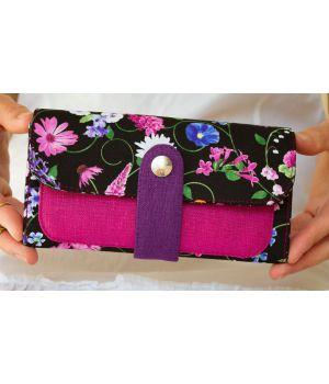Большой дизайнерский кошелек женский с рисунком Ночной сад