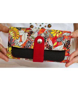 Большой дизайнерский кошелек женский с рисунком Тропики