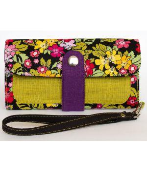 Большой дизайнерский кошелек женский с рисунком и ремешком Японский сад