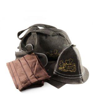 Подарунковий набір для лазні/бані 5в1 Профі, коричнева вовна