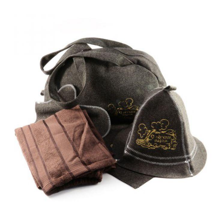 Подарочный набор для бани 5в1 Профи, коричневая шерсть