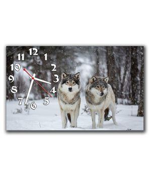 Настенные часы Волки, зима, 30х50 см