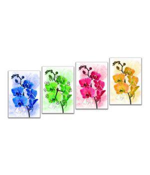 Модульные настенные часы Четыре орхидеи