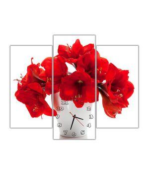 Модульные настенные часы Алые цветы