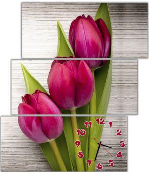Модульные настенные часы Чувственные тюльпаны