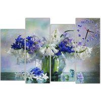Модульные настенные часы Сине белые цветы