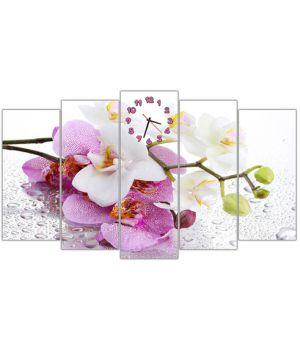 Модульные настенные часы Бело розовые орхидеи