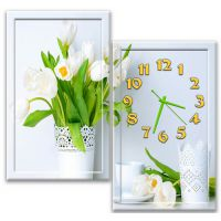 Модульные настенные часы Букет весенних цветов