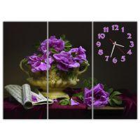 Модульные настенные часы Фиолетовая композиция