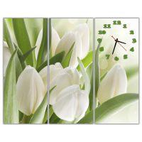 Модульные настенные часы Букет белых тюльпанов