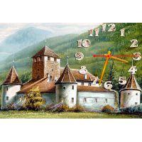 Настінний годинник Замок, панорама, 30х45 см