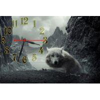 Настінний годинник Вовк на скелях, 30х45 см