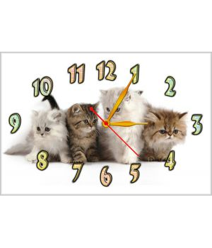 Настенные часы Четыре котенка, 30х45 см