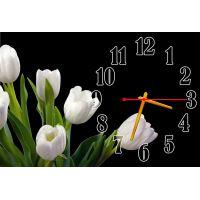 Настенные часы Белые тюльпаны, 30х45 см
