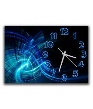 Настінний годинник для залу Синя абстракція, 30х45 см