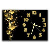 Настінний годинник в спальню Золоті метелики, 30х45 см