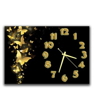 Настенные часы в спальню Золотые бабочки, 30х45 см