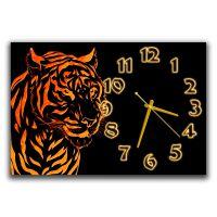 Настенные часы для подростка Тигр, золото, 30х45 см