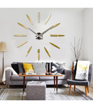 Часы во всю стену 3D 4212 Gold