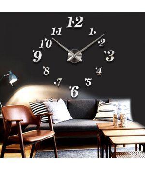 3D Настенные часы без циферблата 4224 Silver