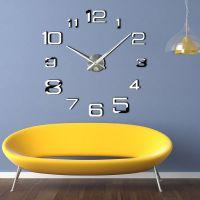 3D Настінний годинник з великими цифрами 4226 Silver