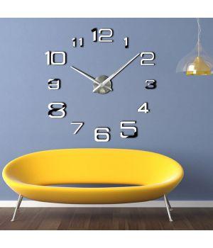 3D Настенные часы с клеящимися цифрами 4226 Silver