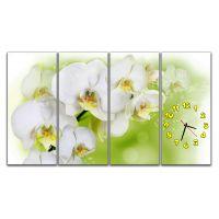 Модульные настенные часы Нежные орхидеи на зеленом, 120х70 см