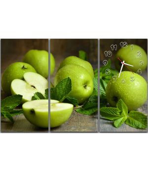 Модульний годинник настінний Зелені яблучка, 90х60 см
