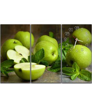 Модульные настенные часы Зеленые яблочки, 90х60 см