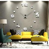 3D Годинник настінний великий самоклеючий 4206 Silver