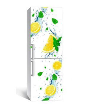65х200 см, Наклейка на холодильник Цитрусы с мятой