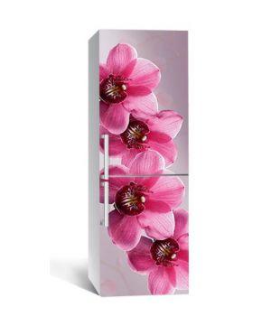 65х200 см, Наклейка на холодильник Крупные розовые орхидеи
