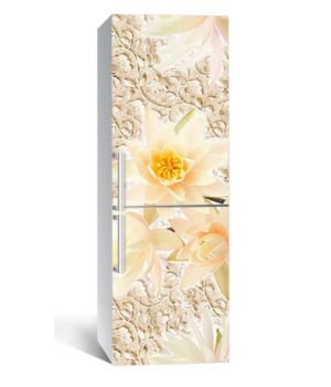 65х200 см, Наклейка на холодильник Кремовый лотос