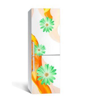 65х200 см, Наклейка на холодильник Зеленые цветы