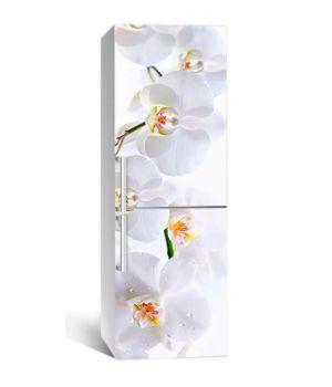 65х200 см, Наклейка на холодильник Нежные белые орхидеи