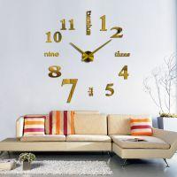 3D часы настенные с надписями, золото