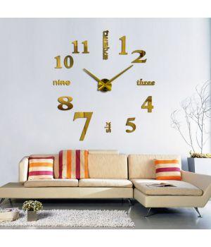 3D годинник настінний з написами, золото