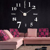 3D часы настенные с надписями, серебро