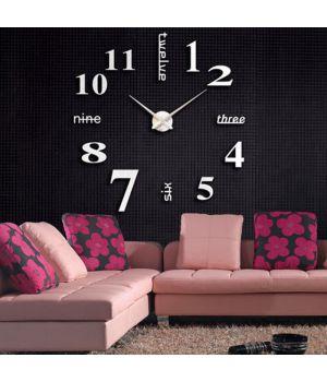 3D годинник настінний з написами, срібло