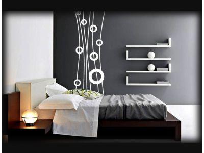 Идея для интерьера №1 - Стильная наклейка в спальню с абстракцией