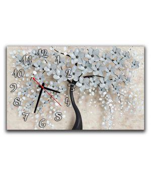Настенные часы для спальни Цветочное дерево 3Д, 30х50 см